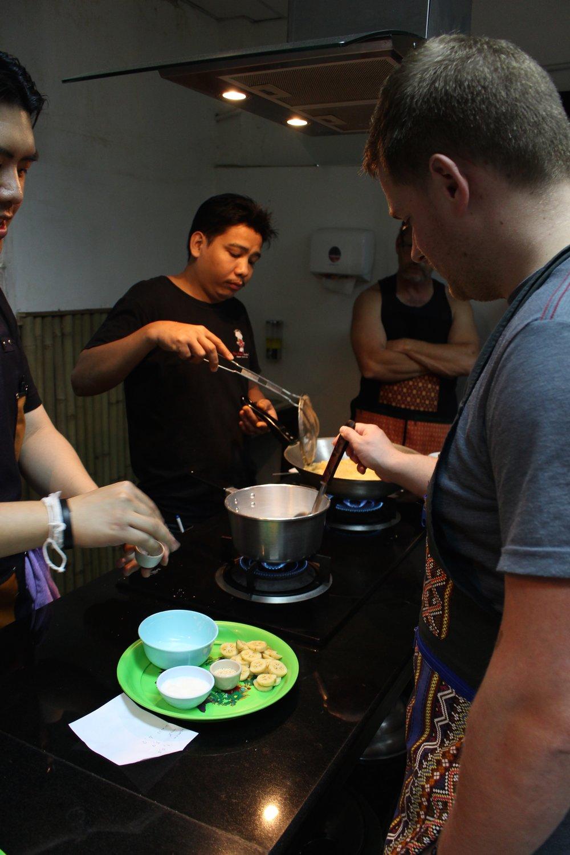 Dave preparing his dessert