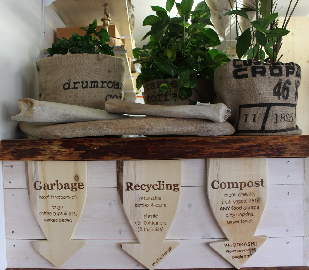 The composting and recycling system is very important to Zoe and her bakery