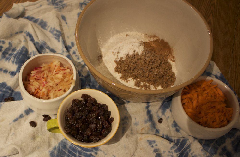 All the goodies that go into the muffins to make them delicious and healthy
