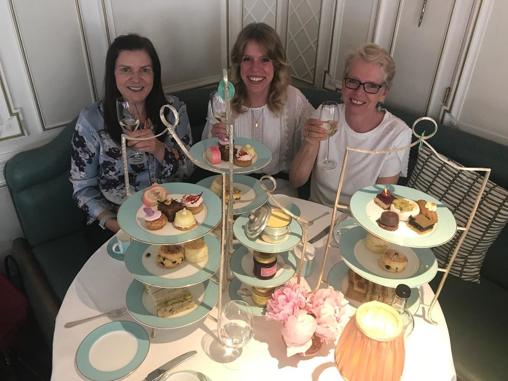 Michelle, my mum and I with our afternoon tea and champagne!