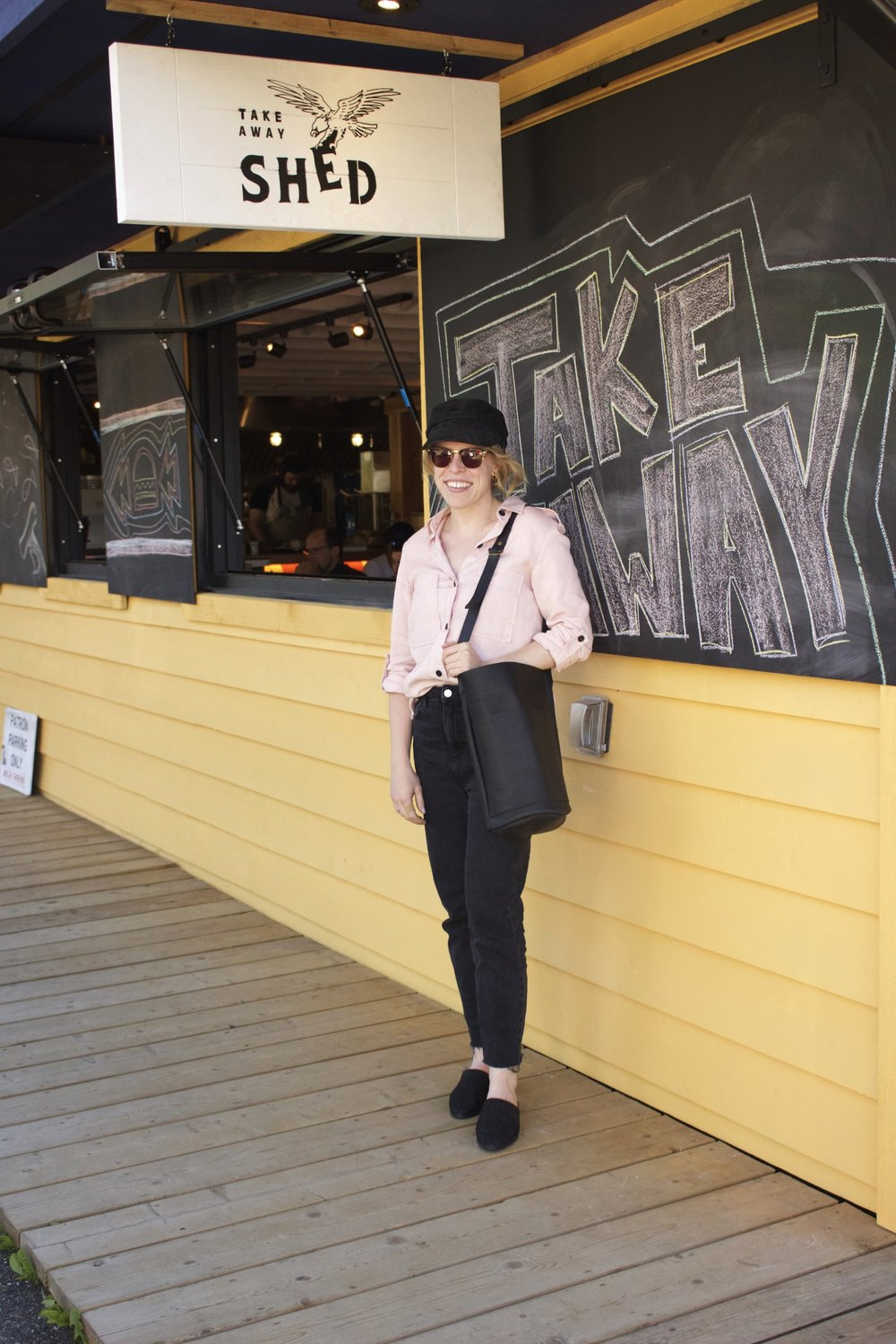 Zara    Blouse,    Topshop    Black Jeans,    Free People    Baker Boy Hat,    Machete    Earrings,    Market Canvas    Leather Bag,    Marks & Spencer    Slides