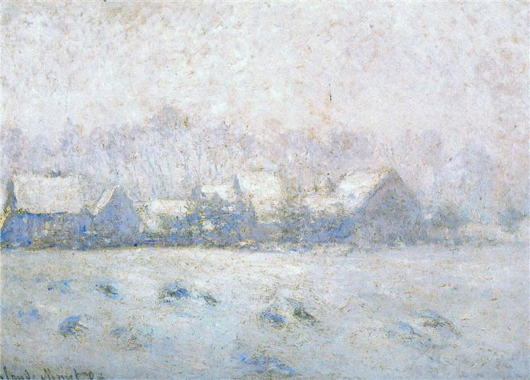 Snow Effect at Giverny, 1893  , Claude Monet