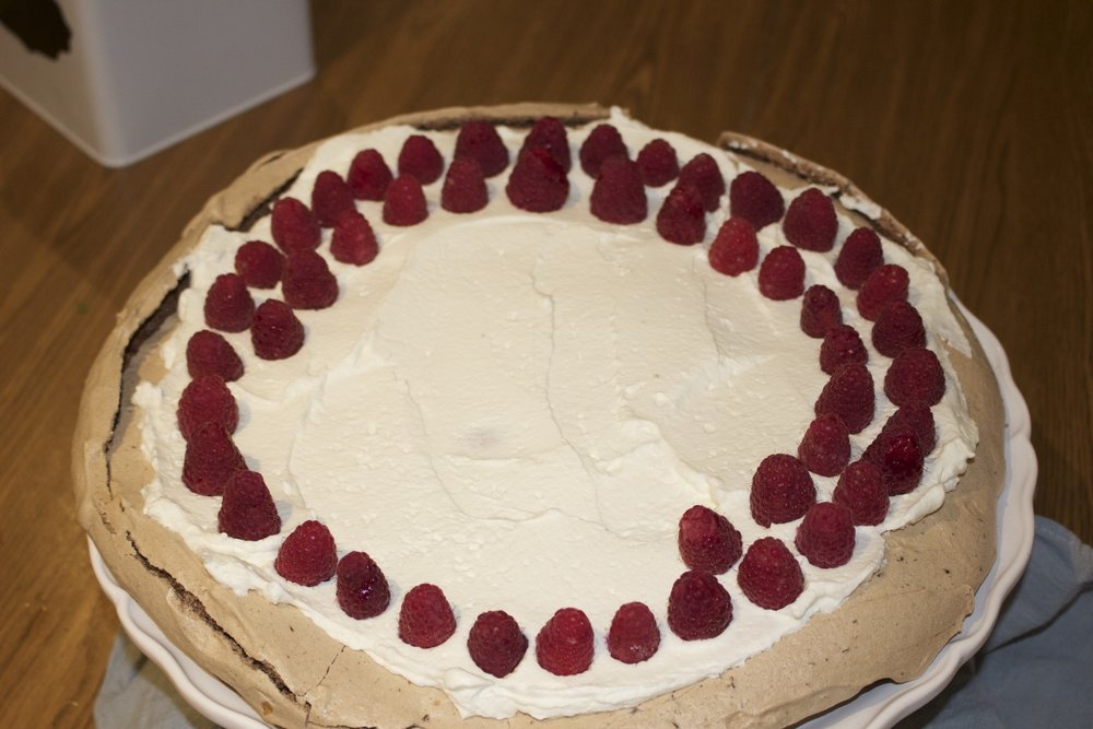 I decided to place my raspberries in a pattern for added effect