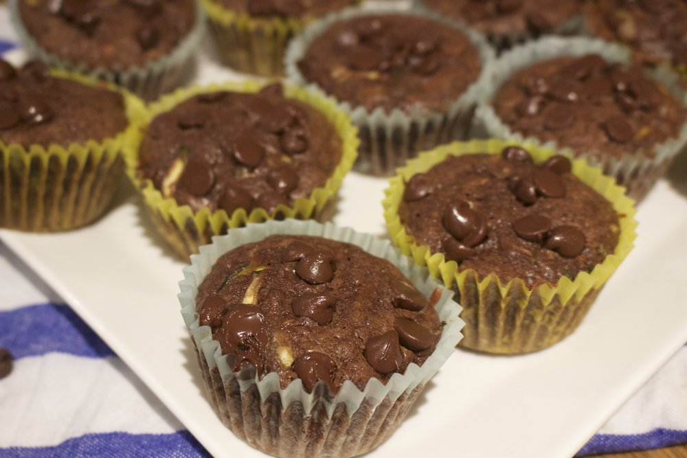 Delicious and moist Chocolate Zucchini Muffins!