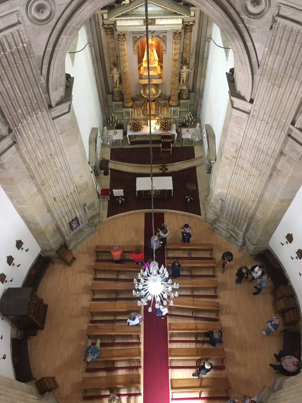 The view from the top of the chapel, the architect designed it in the shape of a scallop shell to signify the Camino!