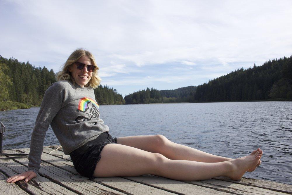 Camp Brand Goods    Sweatshirt,    Topshop    Shorts,    Ray Ban    Sunglasses