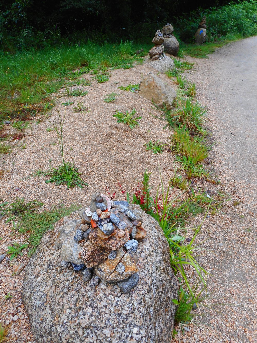 Beautiful little piles of rocks and shells marked the paths we took