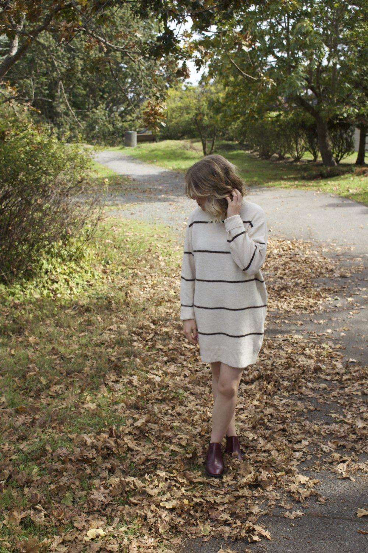 Aritzia    Sweater Dress,    Topshop    Boots