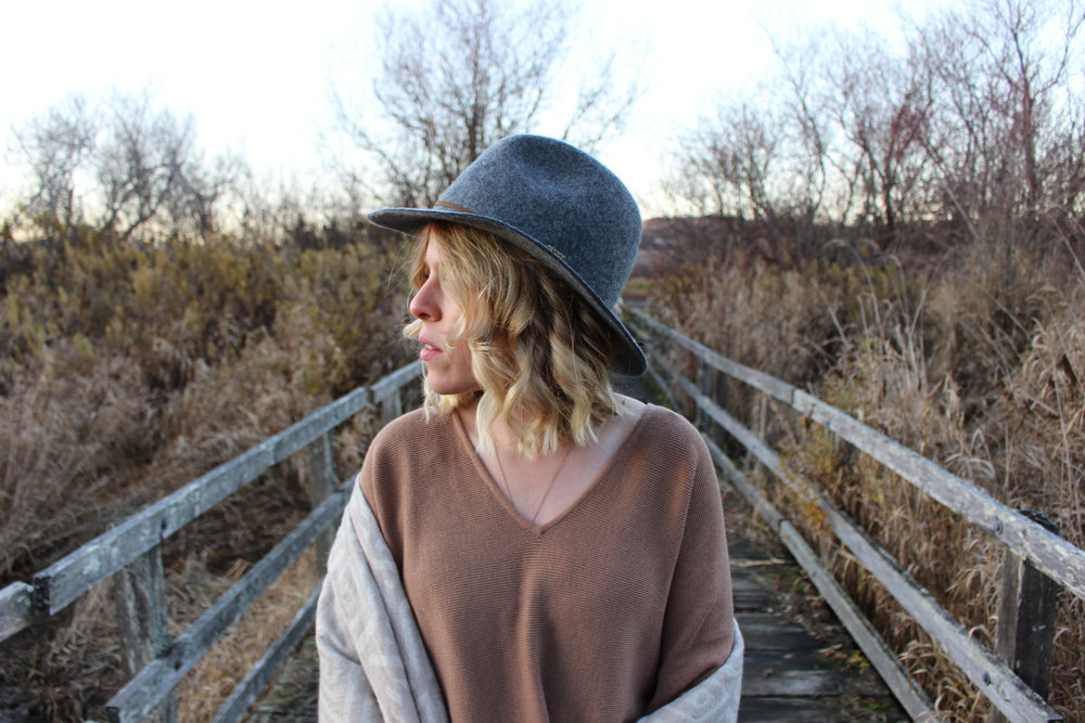 Grey Wool Hat from boutique in Kelowna,    H&M    Sweater,    Aritzia    Scarf,    Wolf Circus    Necklace