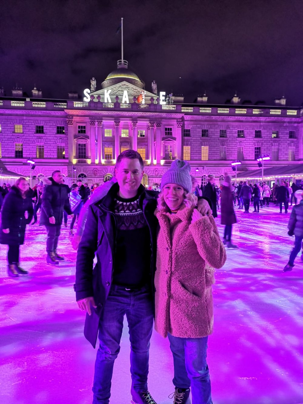 Dave and I on the ice, wearing a   Topshop   Teddy Coat,   Topshop   Jeans and a   Zara   Toque