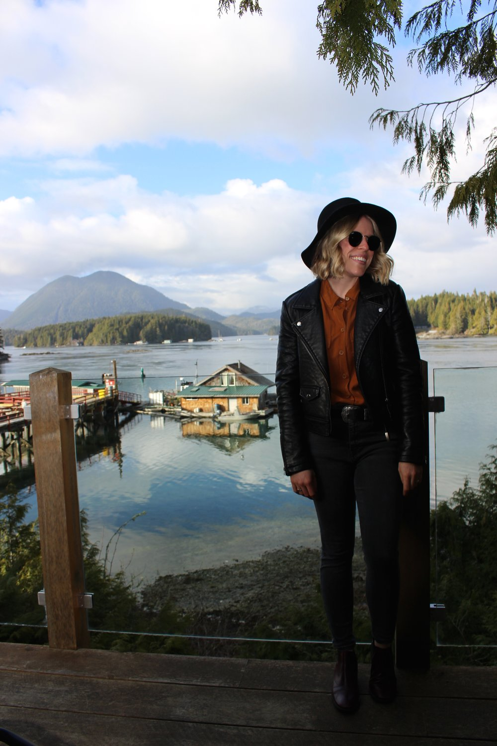 Wearing Wool Hat from Kelowna,    Topshop        Leather Jacket,    Topshop    Blouse,    Topshop    Jeans,    Topshop    Booties,    Topshop    Belt, Ray Ban Sunglasses