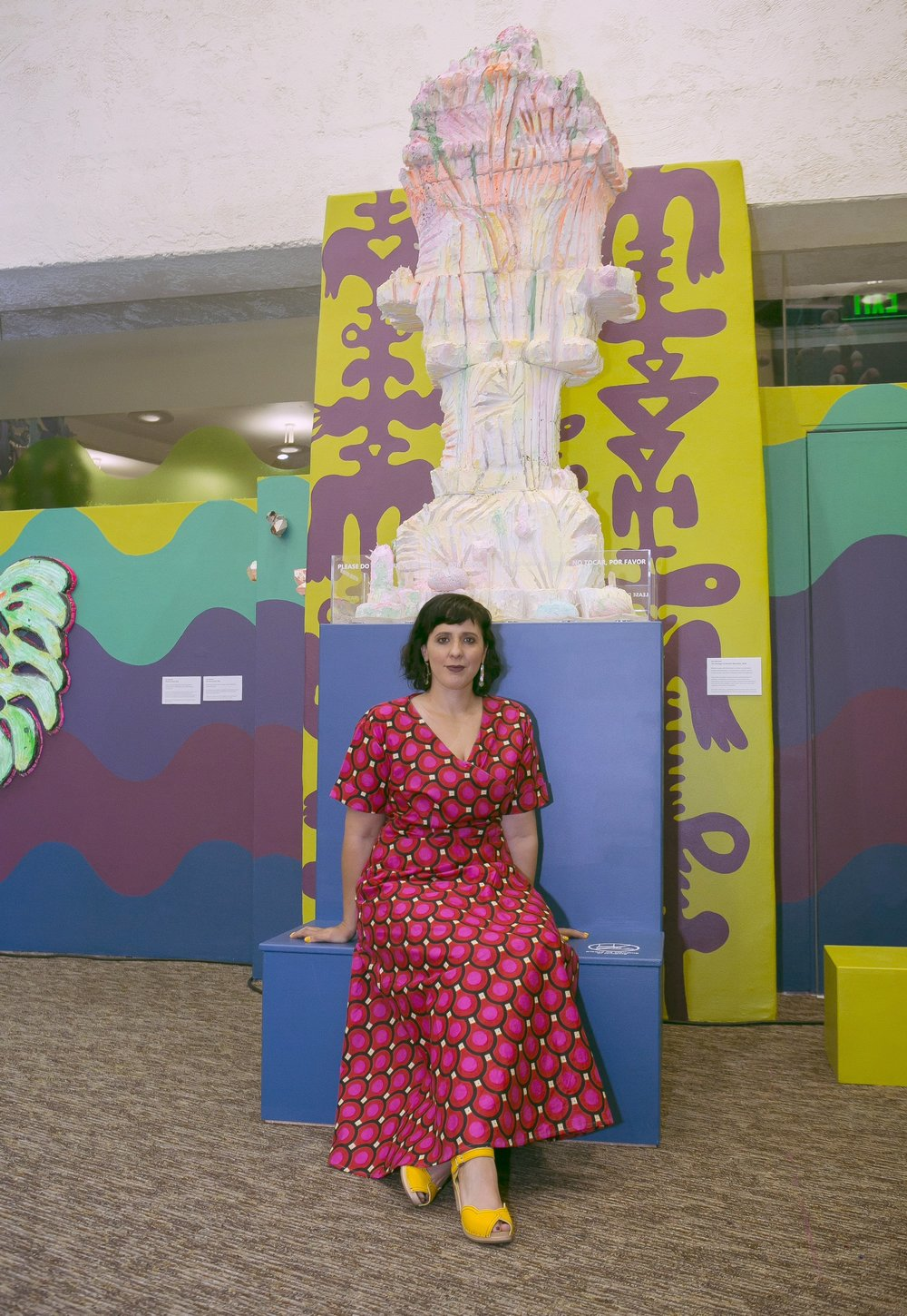 Photo by Chris Loomis   Commissioned by Scottsdale Arts at the Scottsdale Public Library at the Civic Centre, 2018.  Here I am sitting in front of  The Geology of Mount Sherbe t.