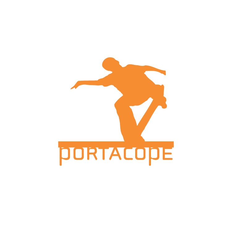 Logo designed for skate company that designed portable coping  to skate surfaces that would otherwise be unshredable. The design mirrors the product design - a long piece of coping that you skate on .