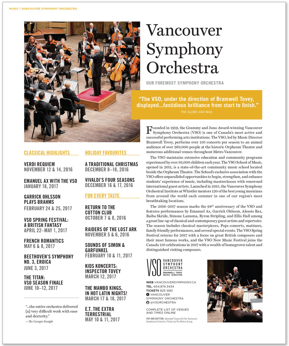 SINGLE PAGE LAYOUT FOR VANCOUVER SYMPHONY ORCHESTRA