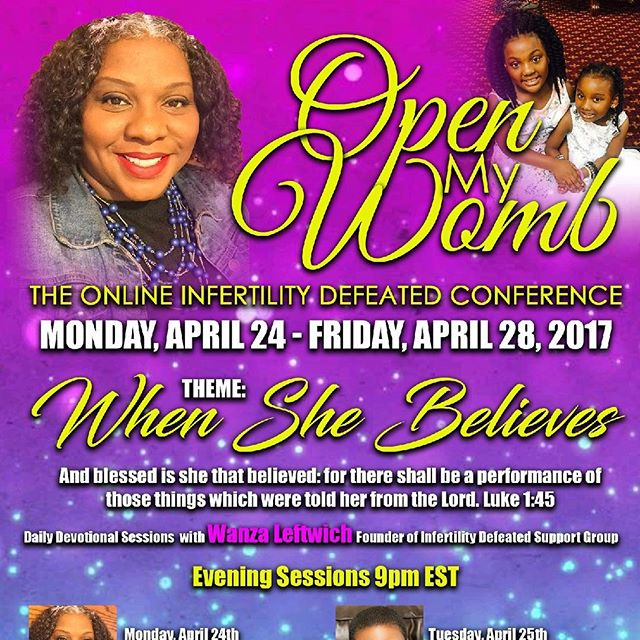 """When She Believes"" Never let anyone down your faith. There's nothing wrong with believing God for a miracle. Join us on Monday! Hear the testimonies, boost your faith and let's believe God until we conceive. Free Registration at www.OpenMyWomb.com"