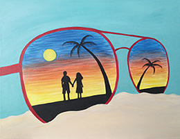 "For this event we are painting     ""Sunset Beach  """