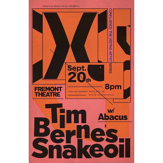 ☔️8PM on Wednesday September 20th. The Creative Music Guild and Fremont Theater present Tim Berne's Snakeoil. Powerful, dynamic, forward-looking jazz from NYC. Led by saxophonist & composer Tim Berne. Portland locals Abacus open. $10-$20 sliding scale at the door. All ages. Doors are 30 mins before showtime. #avant #garde #autumn #timberne #creativemusicguild 🐍