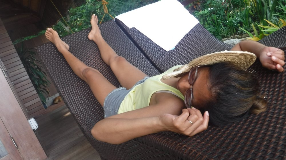 My daughters thought this was hilarious, snapping this photo of me passed out on the deck.