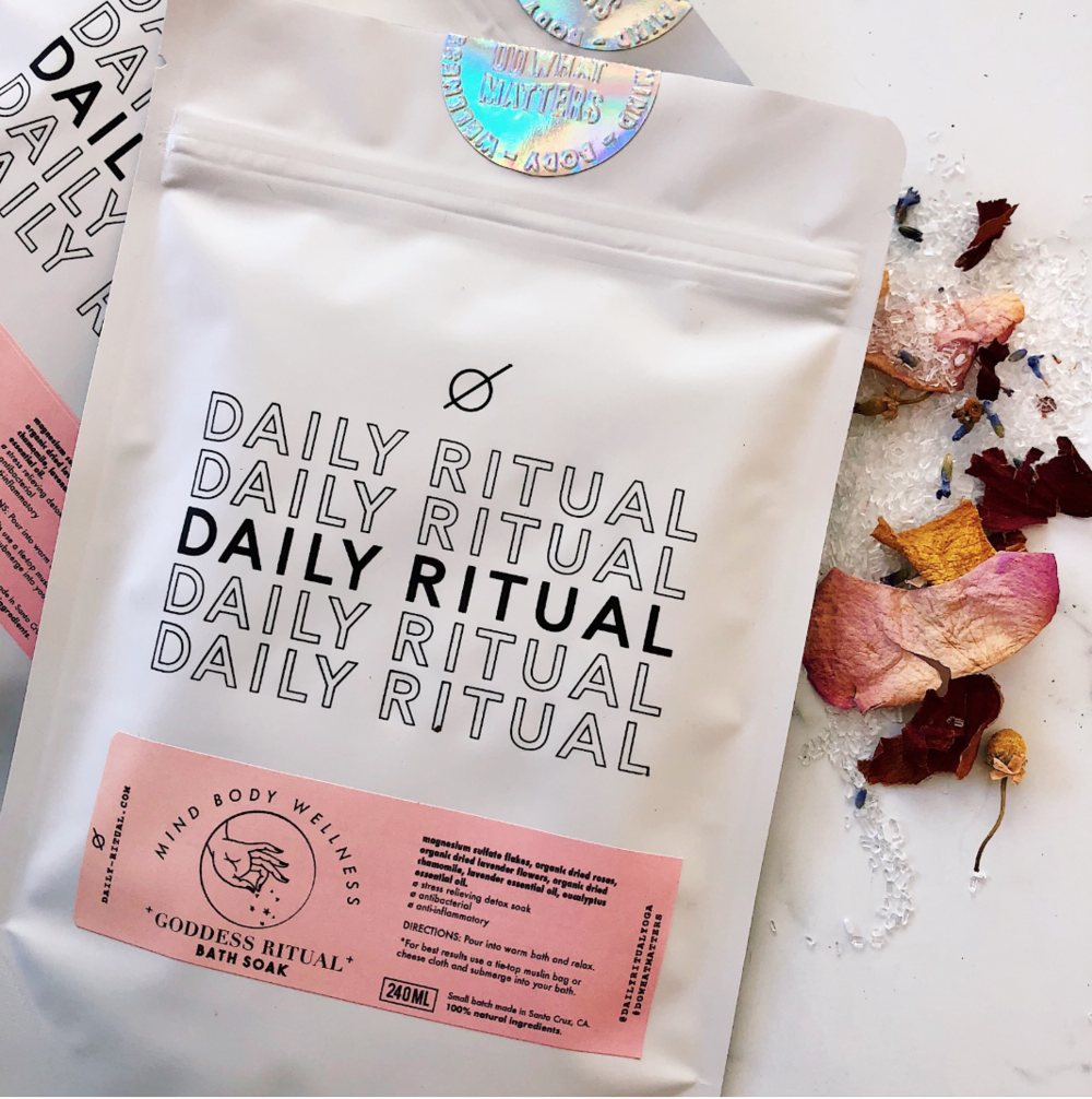 """Goddess Aromatherapy Bath Soak by Daily Ritual$14 - """"Hey, Charina. What is Mysore yoga? And will I be SORE after practicing this style?""""This has got to be one of the number one questions I get when I tell people about Mysore Ashtanga Yoga.Whether or not you or your yoga loving friends practice Mysore Yoga, you may notice some soreness after practice. Daily Ritual's bath soak is the perfect antidote to soothe your achy muscles and melt away tension. If the yogi in your life has a daily asana practice, her or he will for sure love this self care treat.What's also cool is Daily Ritual was founded by Los Angeles-based twins Jolisa and Jazzy. I met Jolisa years ago at a yoga class and she is just one of the most radiant and kindest souls you'll ever meet. If you're in the greater LA area, here's a way to support a local business!Check out Daily Ritual for more products."""