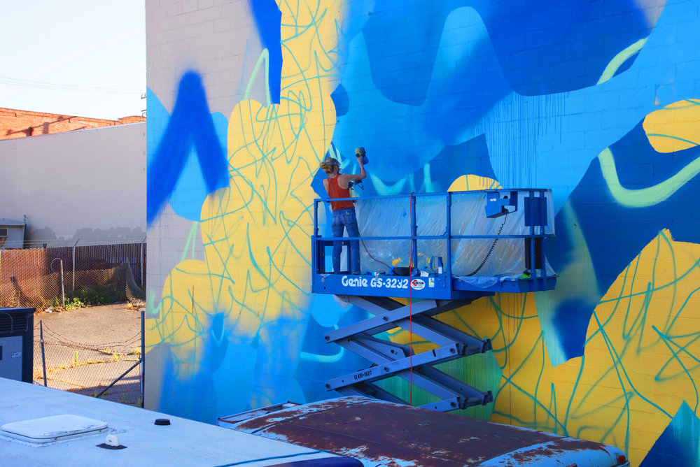 Overlook in Blue / 70 x 30 ft. / Mural / 2017 /Dogpatch, San Francisco, California