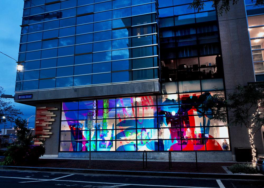 Untitled  (window installation) / 45 x 15 ft. / Dura-Lar, spray paint / 2016 / Rockville, Maryland