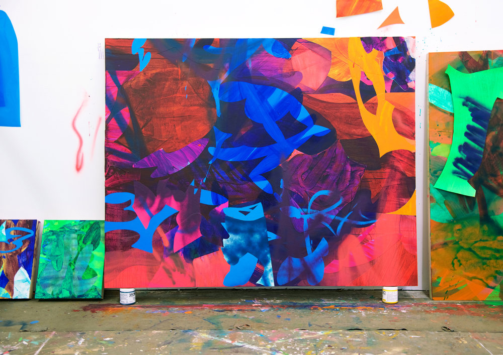 Crossover  / 48 x 60 in. / Mixed media on PVC / 2017 / East Oakland, California