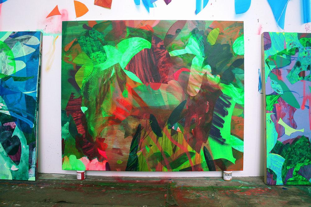 Jargon  / 48 x 60 in. / Mixed media on PVC / 2017 / East Oakland, California