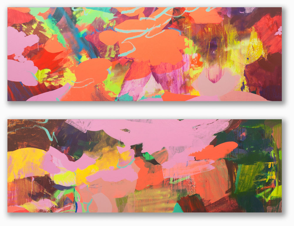 Crossings #1  &  #2  / 30 x 88 in. (each) / Mixed media on canvas / 2015