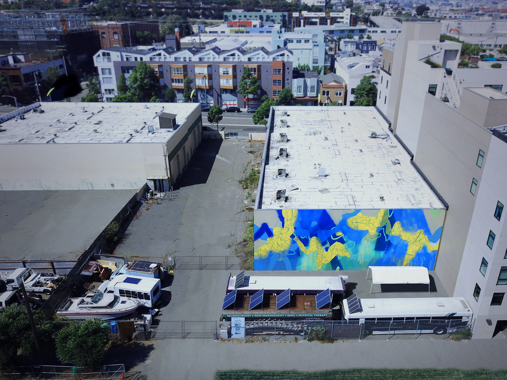Overlook in Blue  / 70 x 30 ft. / Mural / 2017 / Dogpatch, San Francisco, California