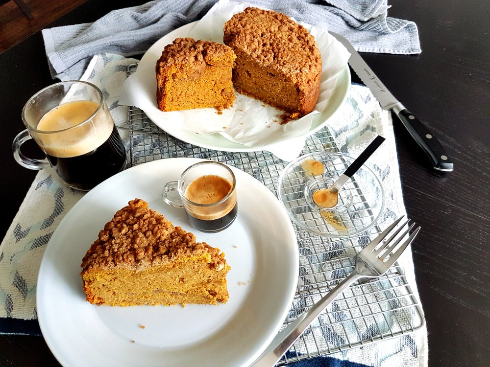 a slice of Pumpkin Sour Cream Coffee Cake, perfect with a cup of coffee
