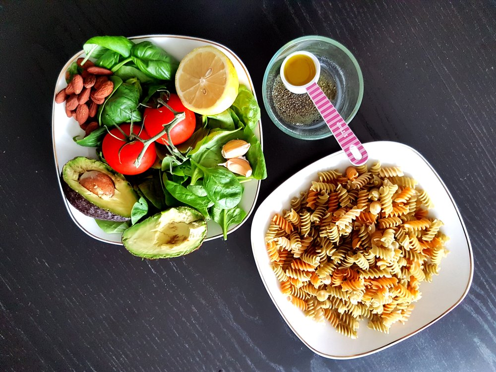 the ingredients for Vegan Avocado Pesto Pasta