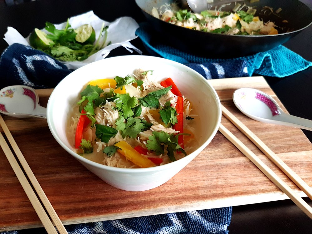 Thai Green Coconut Curry Chicken with Rice Noodles.
