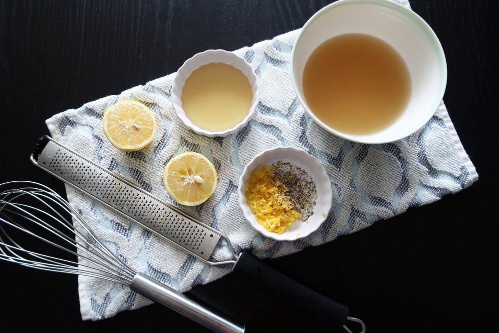 Lemon juice, zest, chicken broth, honey, salt, and pepper.