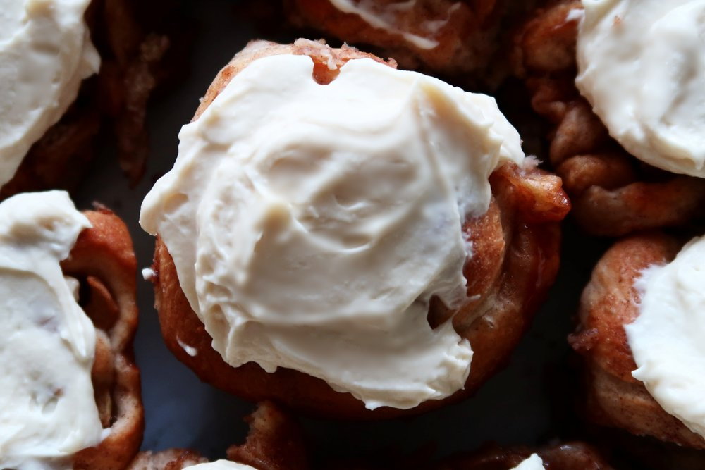 Apple Cinnamon Rolls with Maple Cream Cheese Frosting.