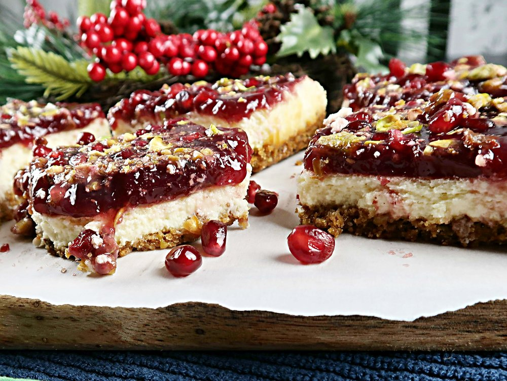 Pomegranate Pistachio Cheesecake Bars.