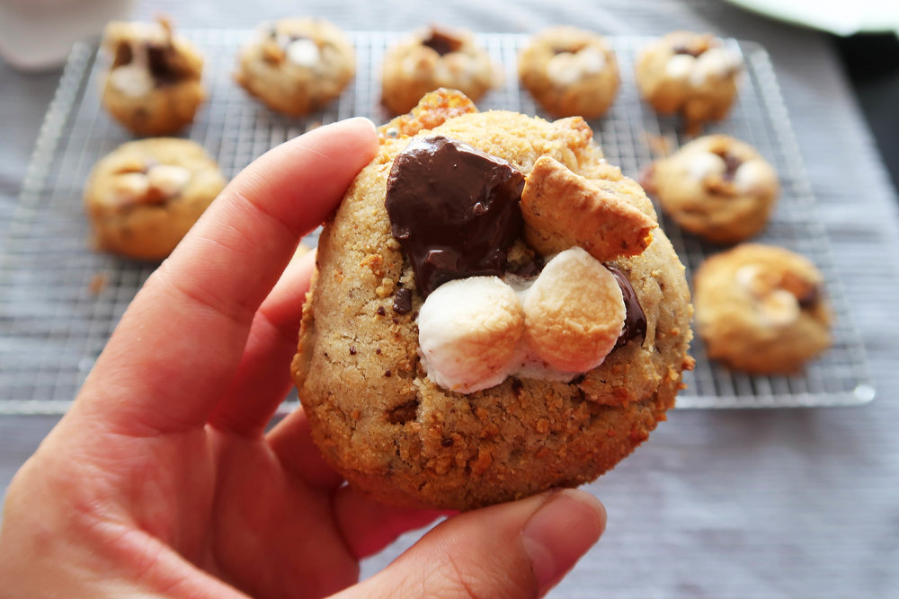 A close up of a Soft and Chewy S'more Cookie.