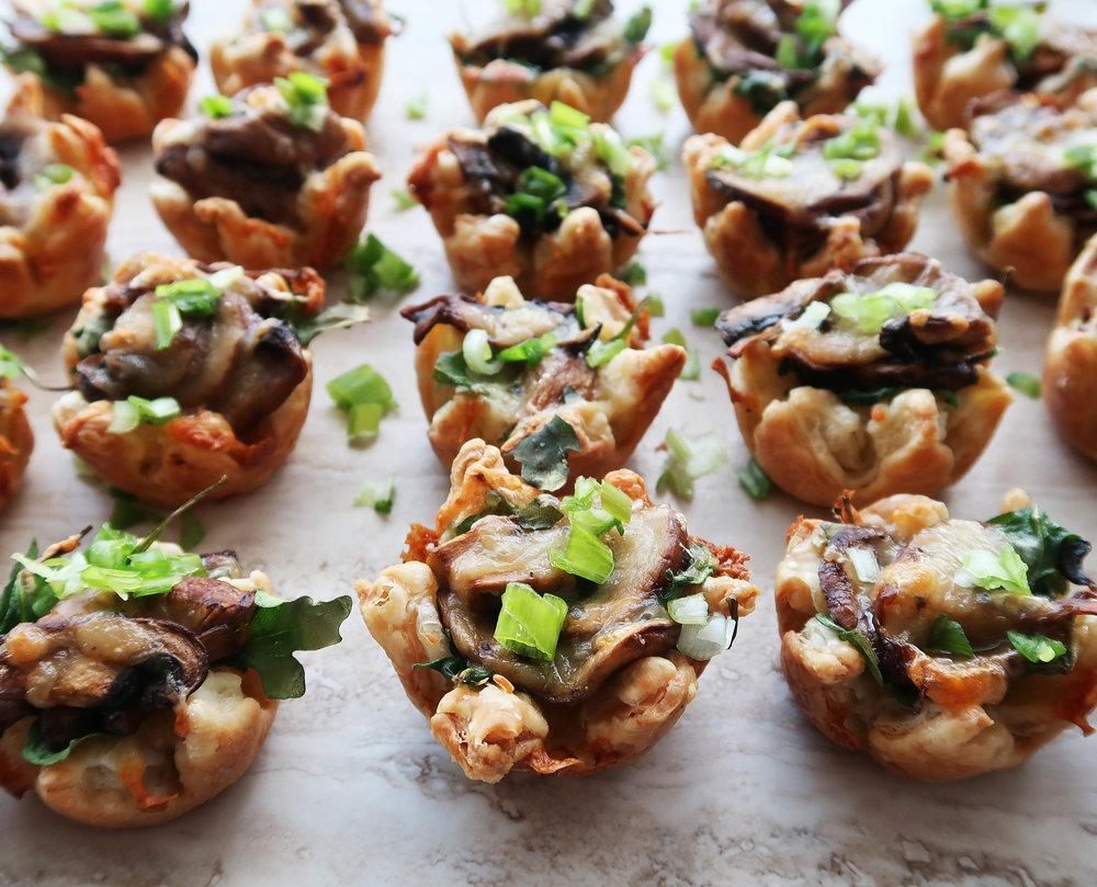 Mushroom Arugula Cheese Tarts