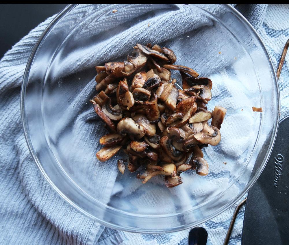 Roasted mushroom filling.