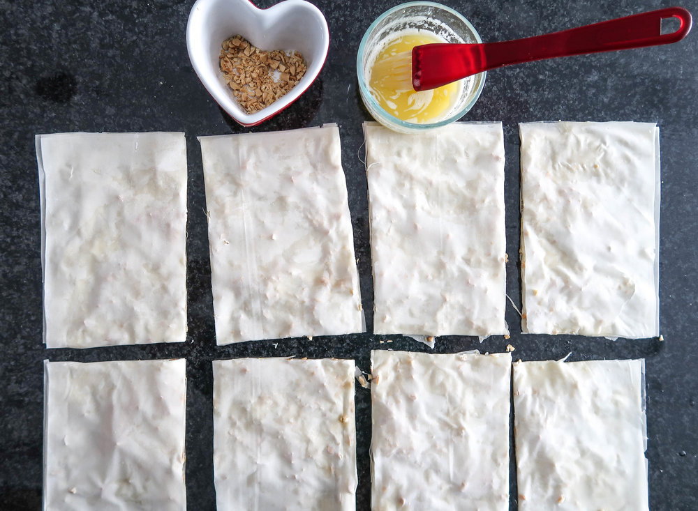 Rectangles of phyllo dough.