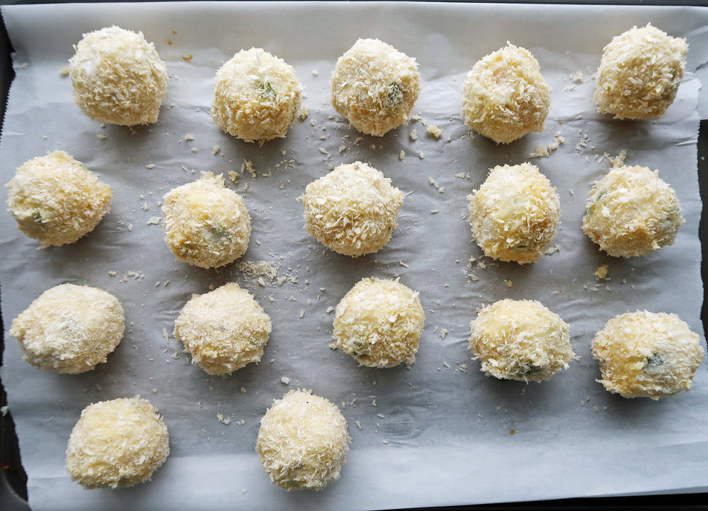 Mashed potato balls coated with panko.