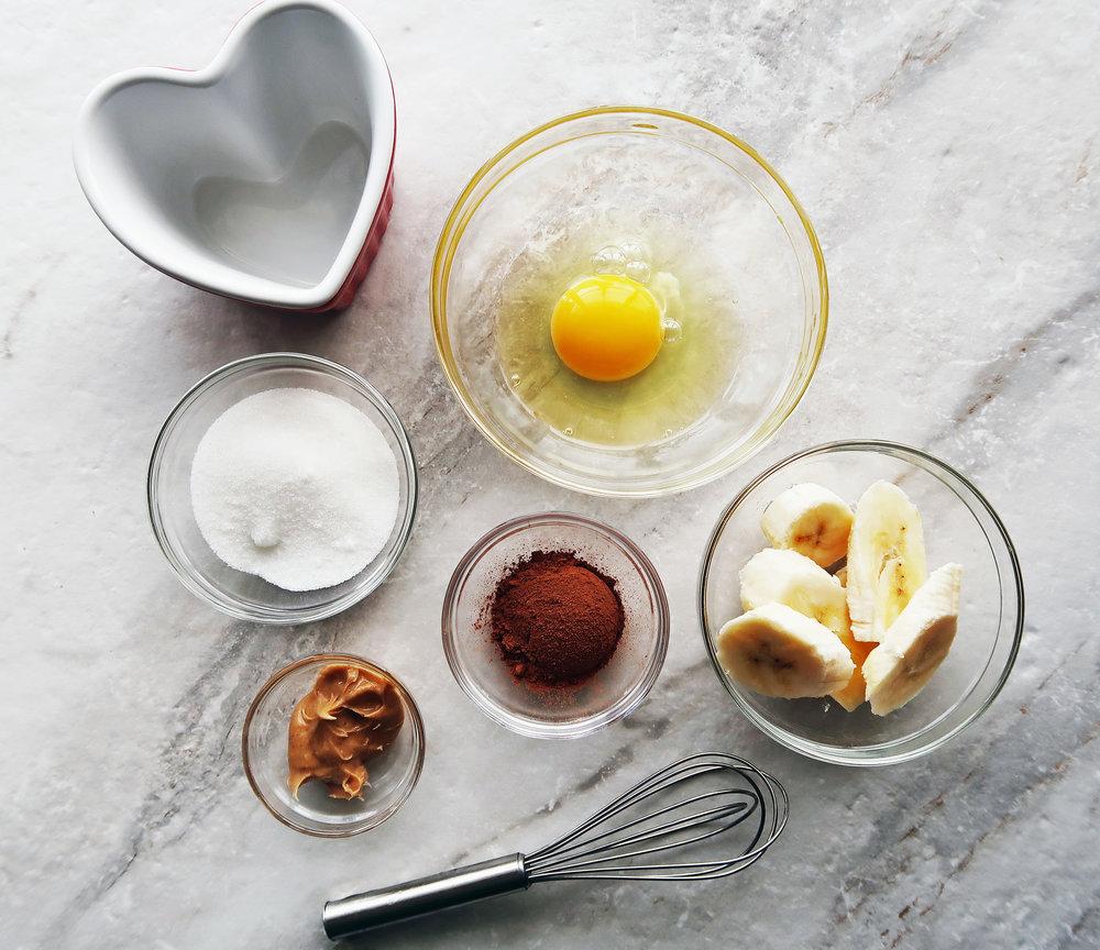 Sugar, an egg, cocoa powder, bananas, and peanut butter.