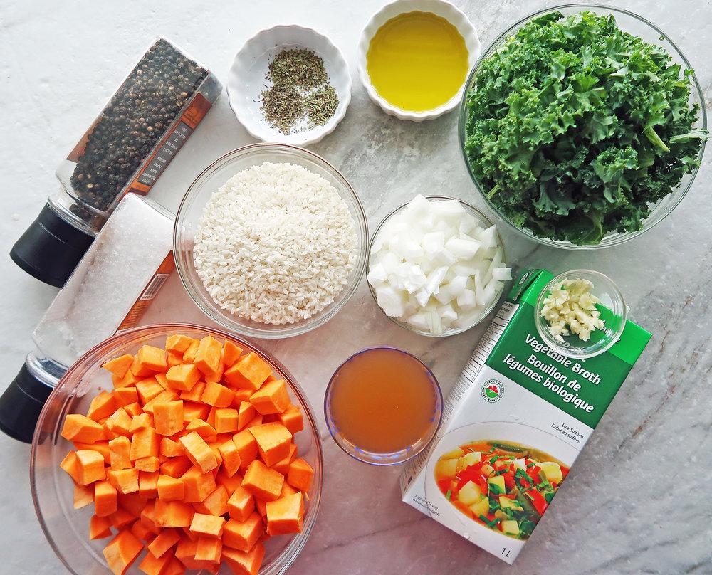 Bowls of sweet potato, onion, kale, arborio rice, and vegetable broth.
