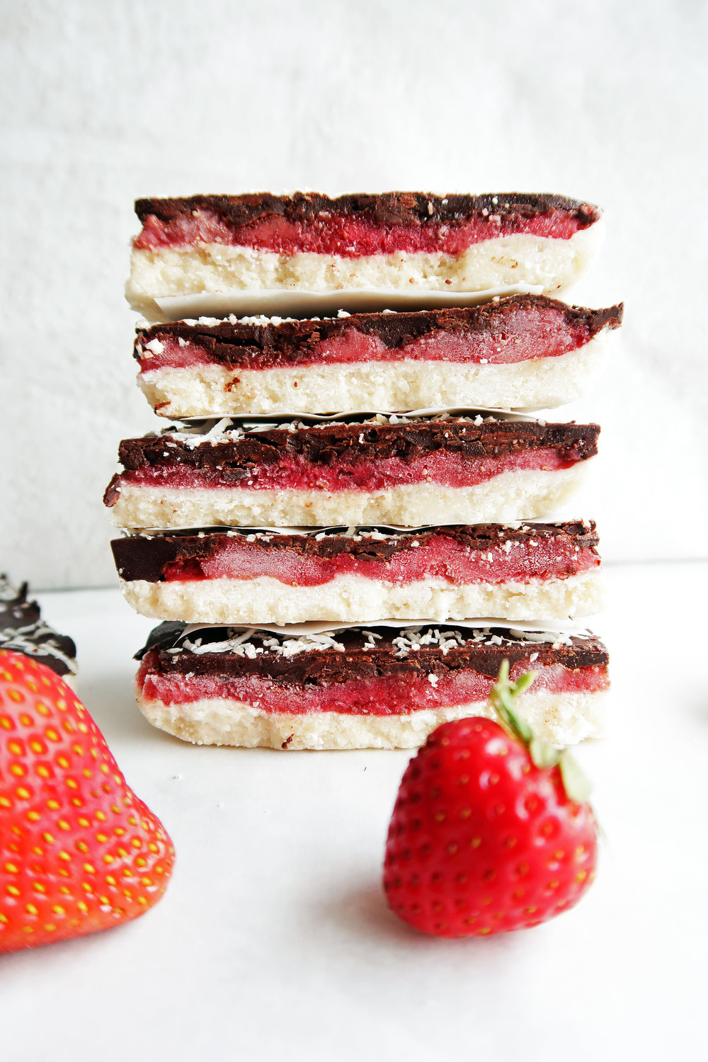 No-Bake Chocolate Strawberry Coconut Bars: A quick and easy no-bake, gluten-free, vegan dessert. www.yayforfood.com