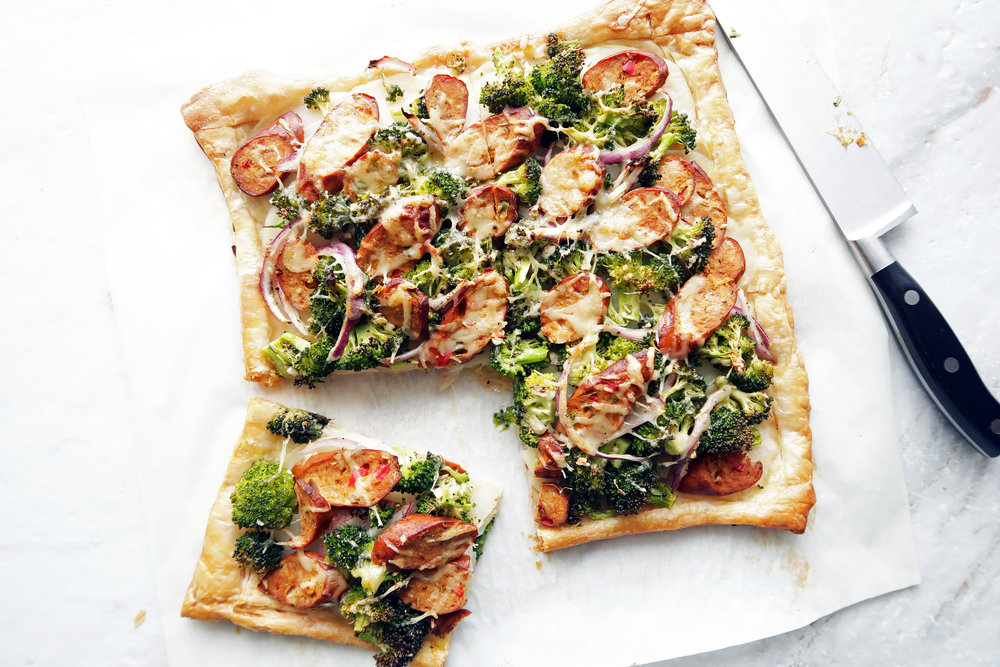 Roasted Broccoli Potato & Sausage Tart: An easy to make puff pastry appetizer or dinner. www.yayforfood.com