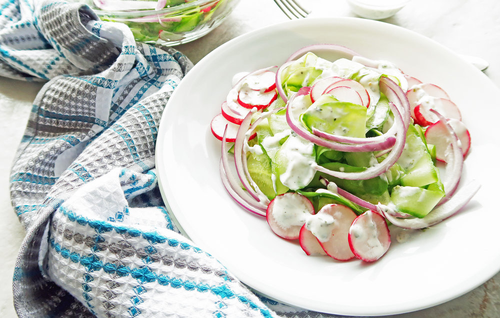 Shaved Cucumber Salad with Lime-Mint Yogurt Dressing: Quick, healthy, and easy to make. www.yayforfood.com