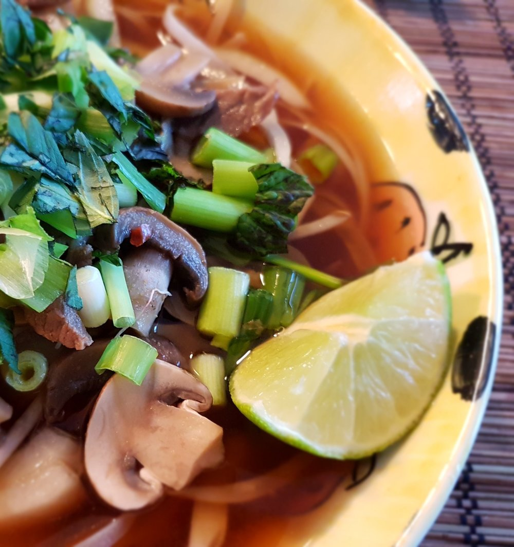 Vietnamese Noodles with Beef and Mushrooms