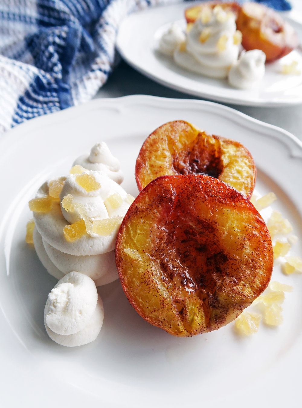 Cinnamon Roasted Peaches with Honey Marscarpone Whipped Cream: A simple and easy dessert that's vegetarian and gluten-free! www.yayforfood.com