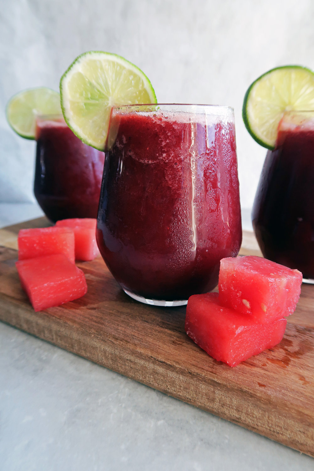 4 Ingredient Watermelon Cherry Slushies: A refreshing, simple, easy to make cold drink for the summer. www.yayforfood.com