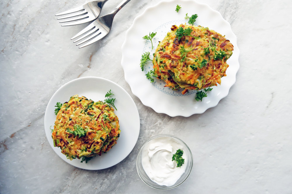 Easy Zucchini Carrot Pancakes: A fresh and flavourful vegetarian option for breakfast, lunch, or dinner. www.yayforfood.com