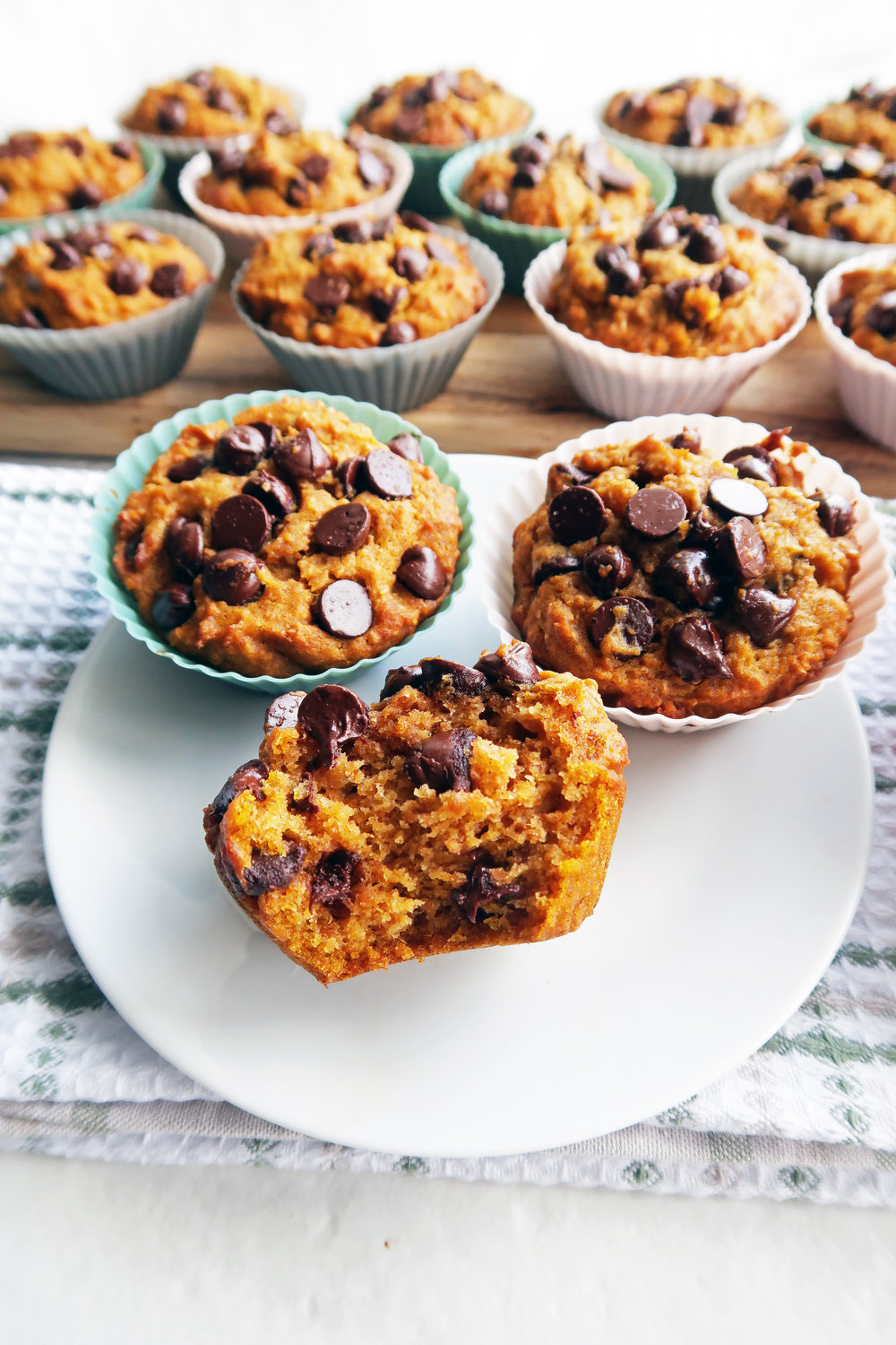 Close-up shot of a pumpkin chocolate chip whole wheat muffin with a big bite taken out of it with muffins in the background.